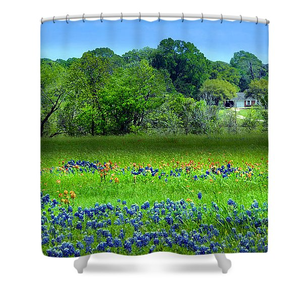 Decorative Texas Homestead Bluebonnets Meadow Mixed Media Photo H32517 Shower Curtain