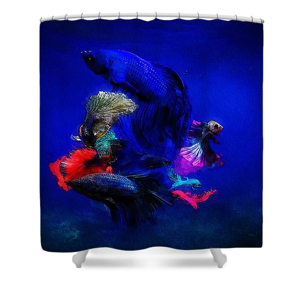 Shower Curtain featuring the painting Deep Oceans by Mark Taylor
