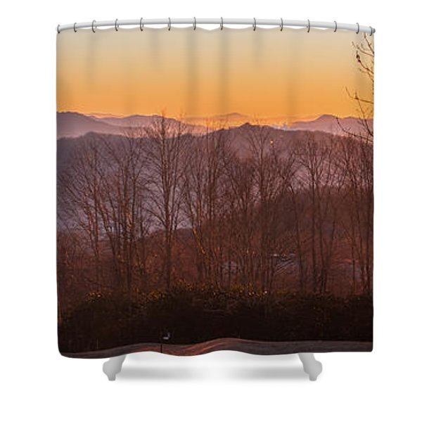 Deep Orange Sunrise Shower Curtain