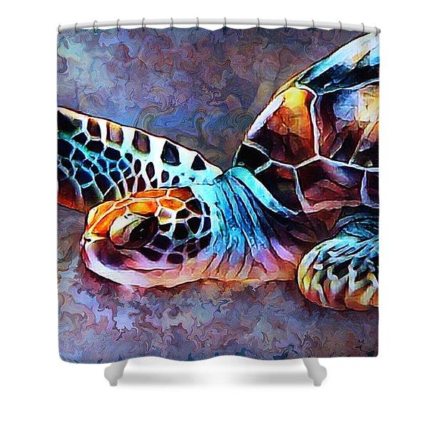 Deep Sea Trutle Shower Curtain