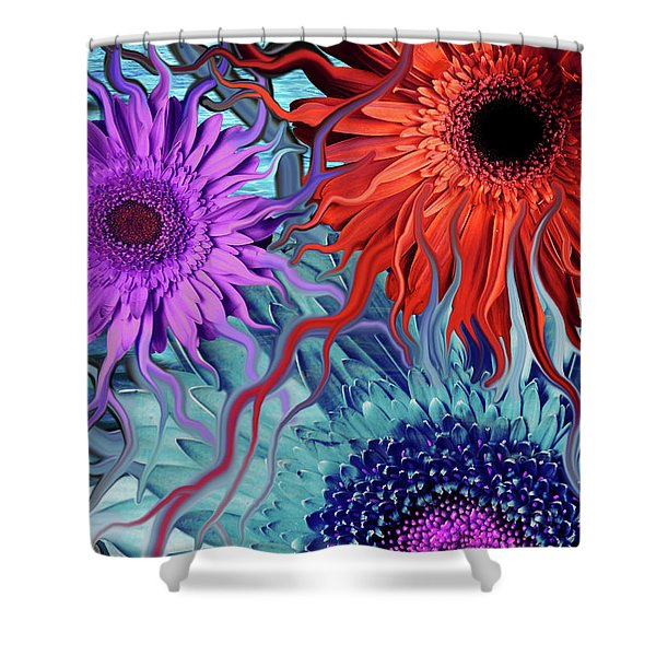 Shower Curtain featuring the painting Deep Water Daisy Dance by Christopher Beikmann