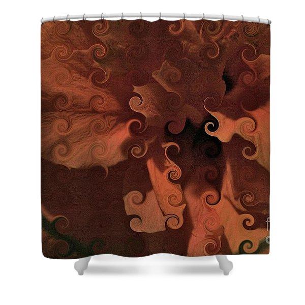 Deep Wine Curlicue Hibiscus Shower Curtain