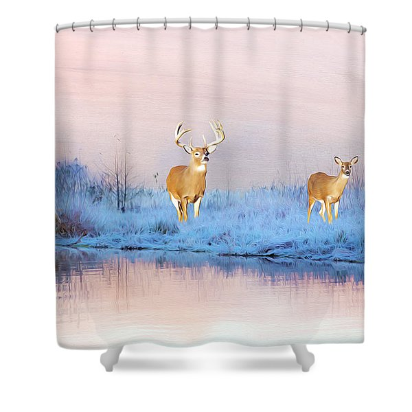 Deer At Winter Pond Shower Curtain