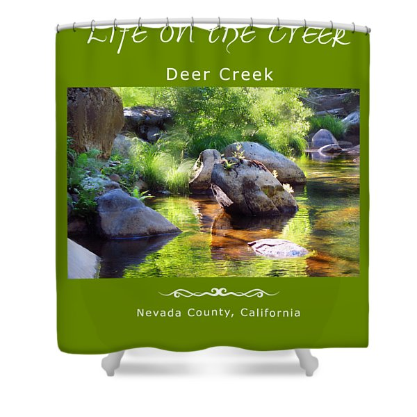 Deer Creek Ferns - White Text Shower Curtain