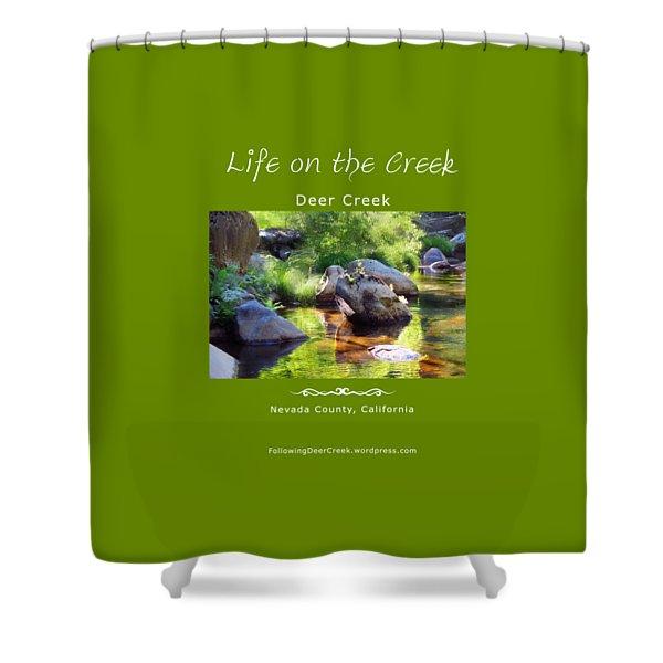 Deer Creek Ferns - White Text Shower Curtain
