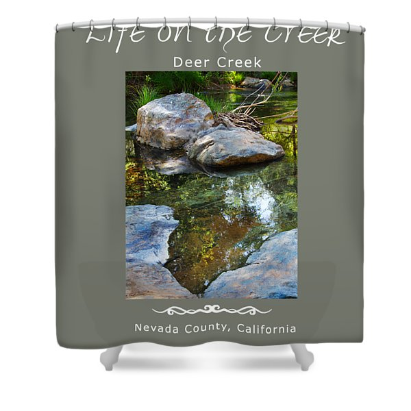 Deer Creek Point - White Text Shower Curtain