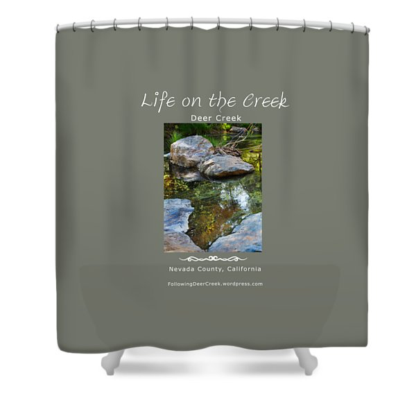 Deer Creek Point - White Text Shower Curtain