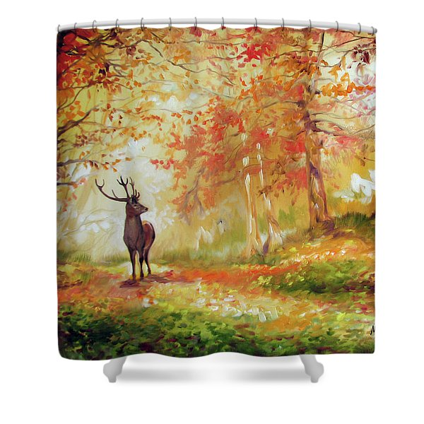 Deer On The Wooden Path Shower Curtain