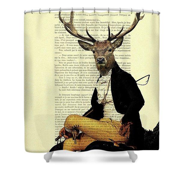 Deer Regency Portrait Shower Curtain