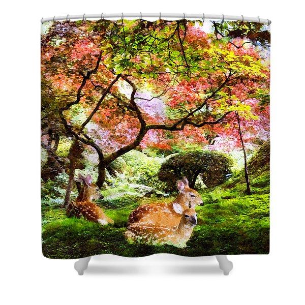 Deer Relaxing In A Meadow Shower Curtain