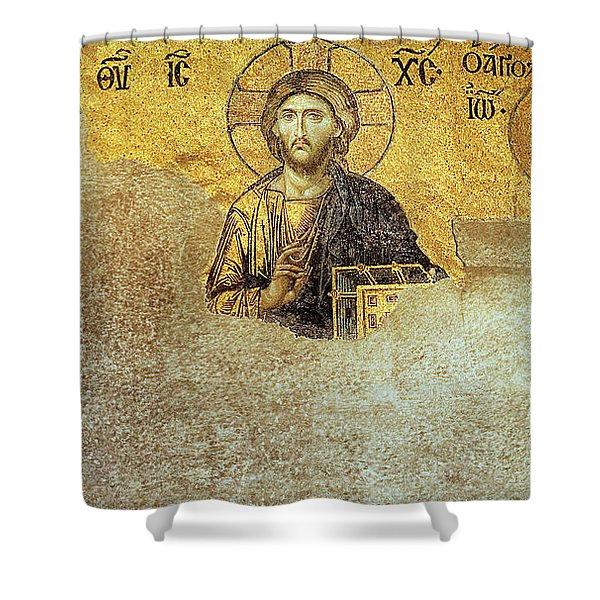 Deesis Mosaic Hagia Sophia-christ Pantocrator-judgement Day Shower Curtain
