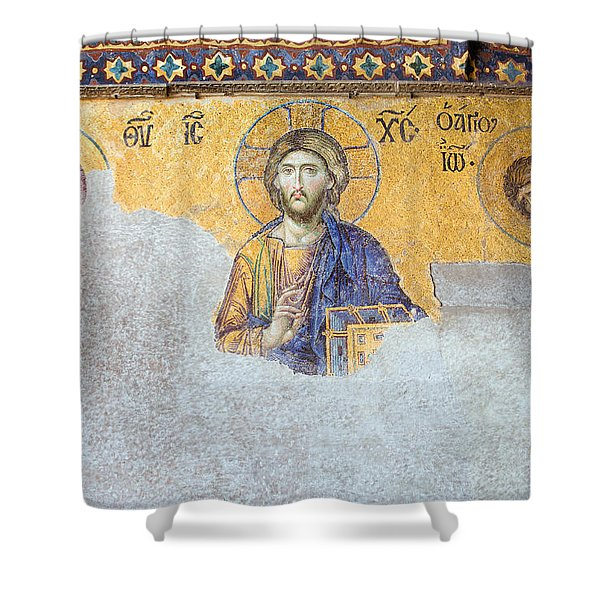 Deesis Mosaic Of Jesus Christ Shower Curtain