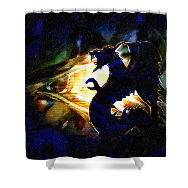 Shower Curtain featuring the painting Defiance by Gerlinde Keating - Galleria GK Keating Associates Inc