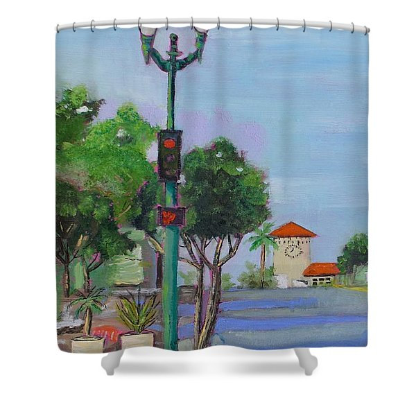 Shower Curtain featuring the painting Del Mar And Ole Vista by Mary Scott