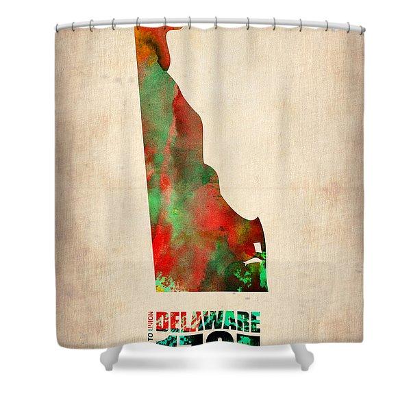 Delaware Watercolor Map Shower Curtain