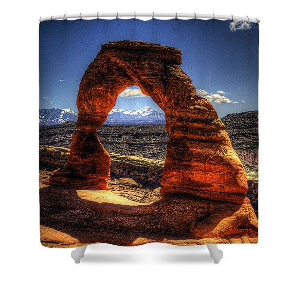 Delicate Arch Framing La Sal Mountains Shower Curtain