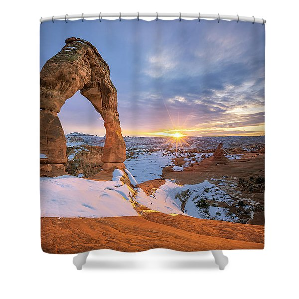 Delicate Arch Winter Shower Curtain