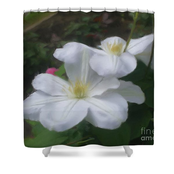 Delicate White Clematis Pair Shower Curtain