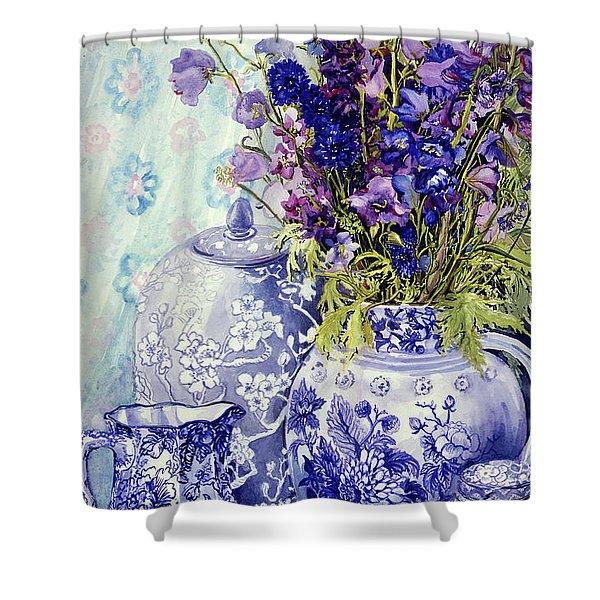 Delphiniums With Antique Blue Pots Shower Curtain