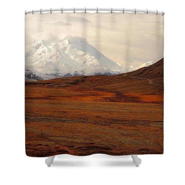 Denali And Tundra In Autumn Shower Curtain