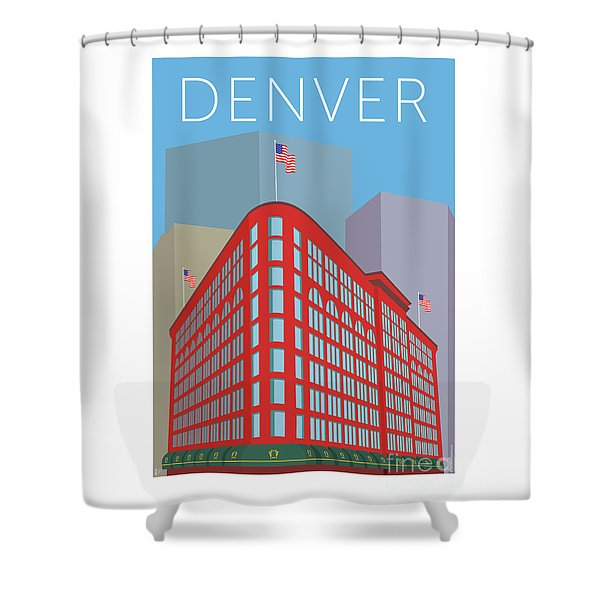 Denver Brown Palace/blue Shower Curtain