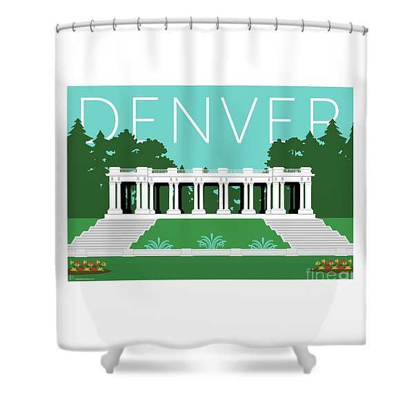 Denver Cheesman Park/lt Blue Shower Curtain