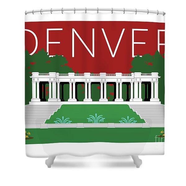 Denver Cheesman Park/maroon Shower Curtain