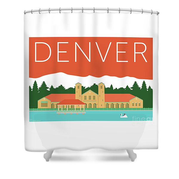 Denver City Park/coral Shower Curtain