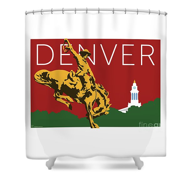 Denver Cowboy/maroon Shower Curtain