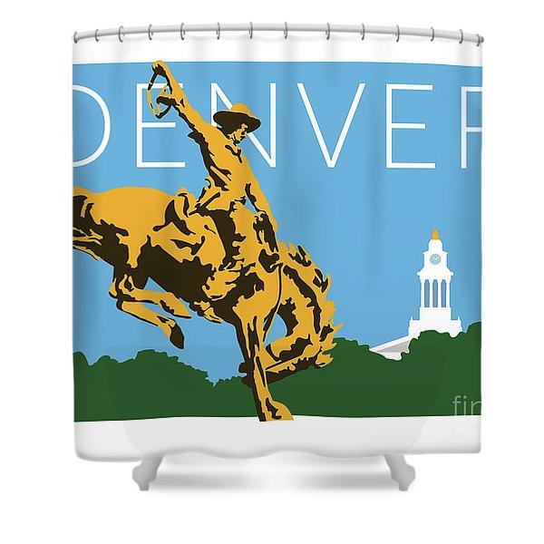 Denver Cowboy/sky Blue Shower Curtain