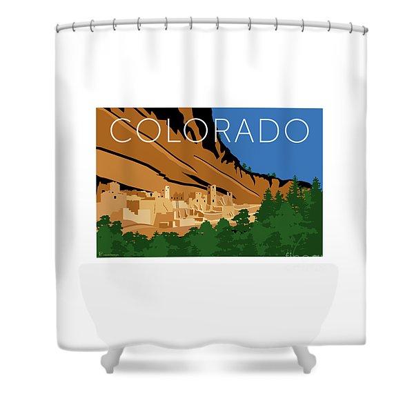 Shower Curtain featuring the digital art Mesa Verde Blue by Sam Brennan
