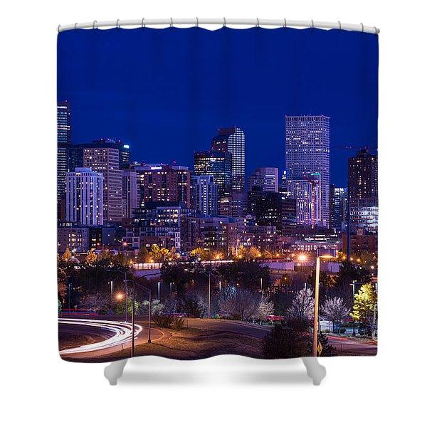 Denver Skyline At Night - Colorado Shower Curtain