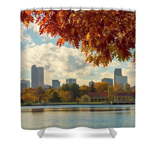 Denver Skyline Fall Foliage View Shower Curtain