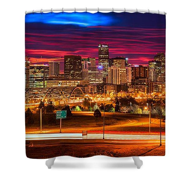 Denver Skyline Sunrise Shower Curtain