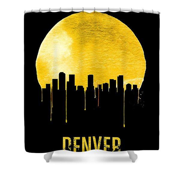 Denver Skyline Yellow Shower Curtain