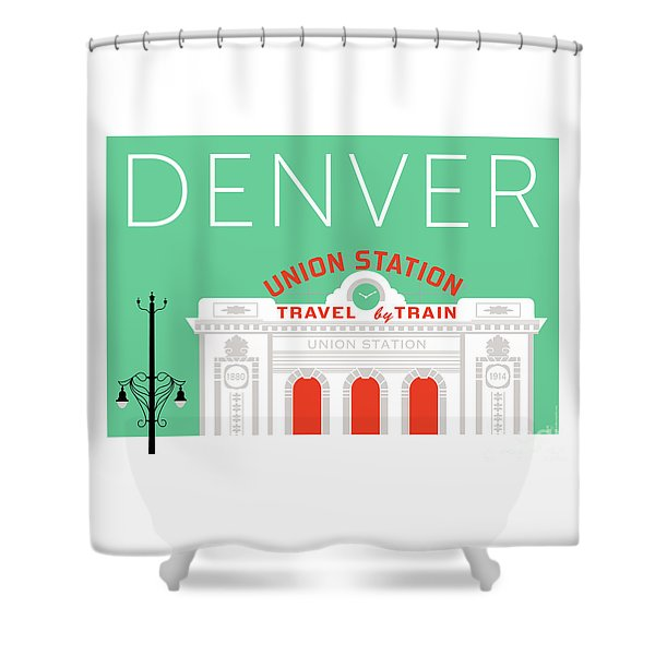 Denver Union Station/aqua Shower Curtain