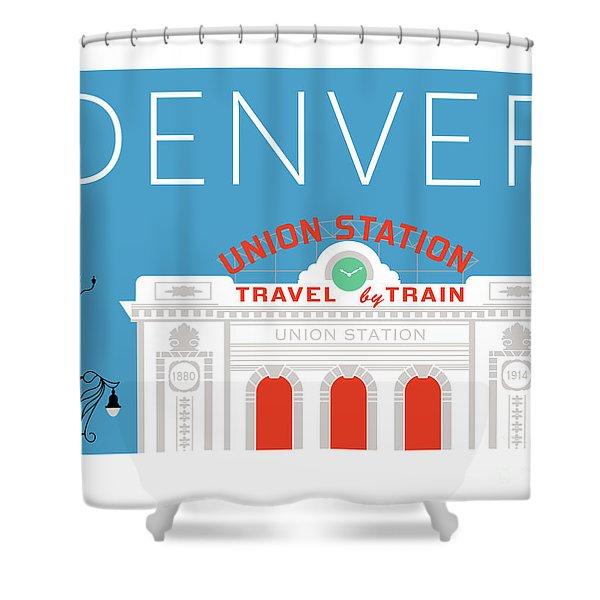 Denver Union Station/blue Shower Curtain