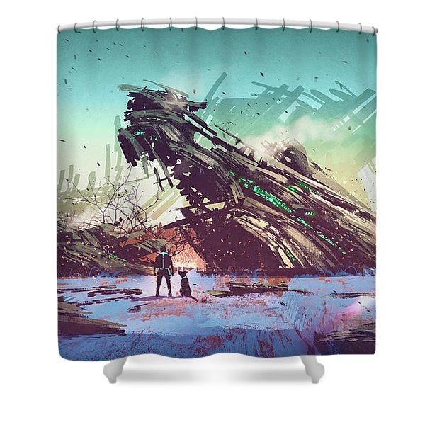 Shower Curtain featuring the painting Derelict Ship by Tithi Luadthong