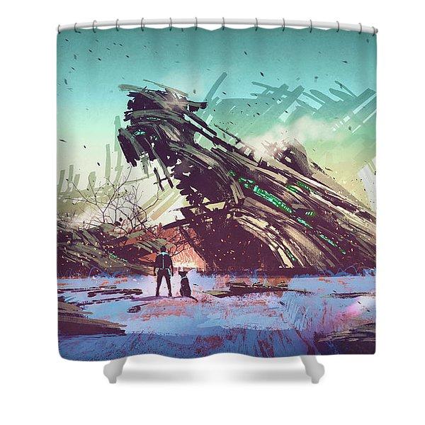 Derelict Ship Shower Curtain