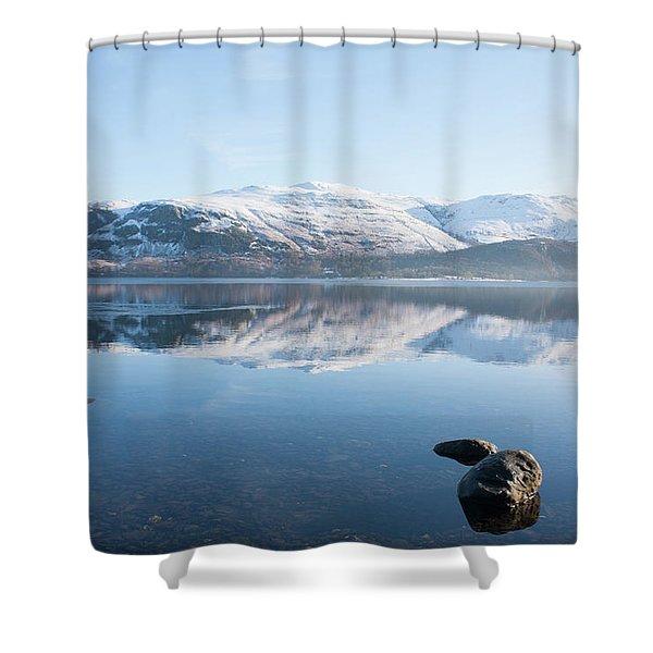 Derwentwater Rocks Shower Curtain