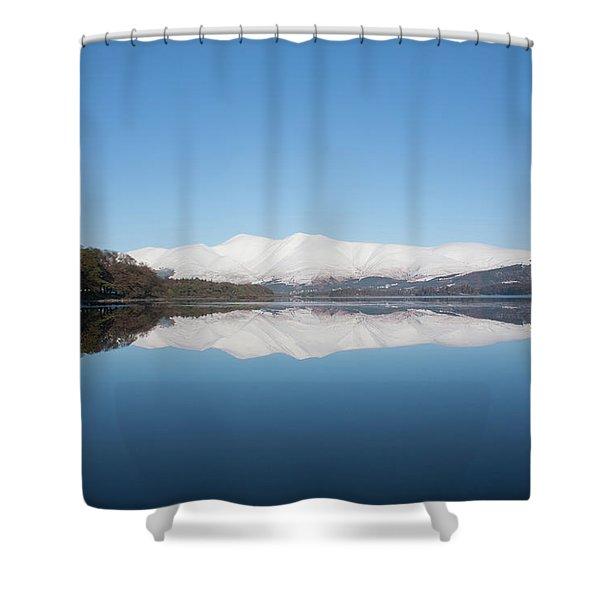 Derwentwater Winter Reflection Shower Curtain