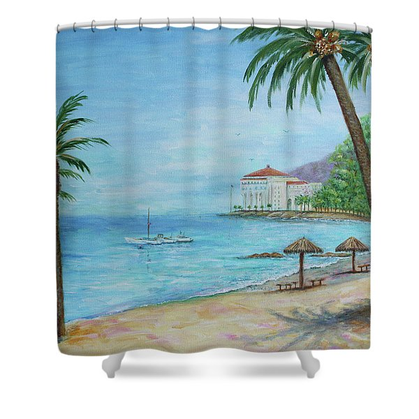 Shower Curtain featuring the painting Descanso Beach, Catalina by Lynn Buettner