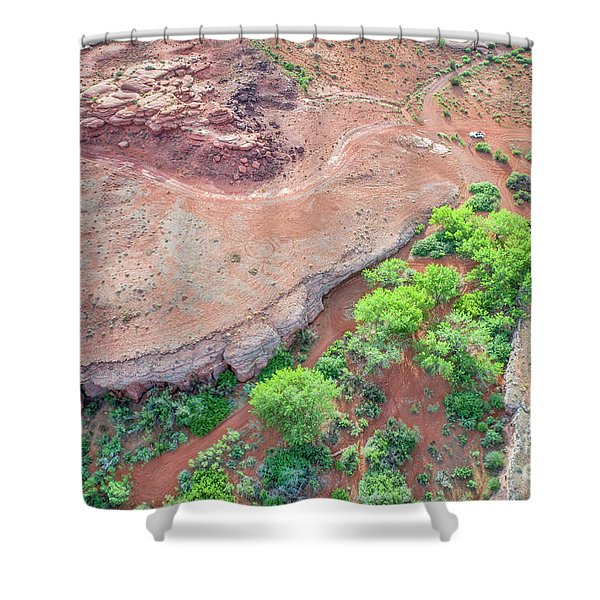 desert canyon in Utah aerial view Shower Curtain