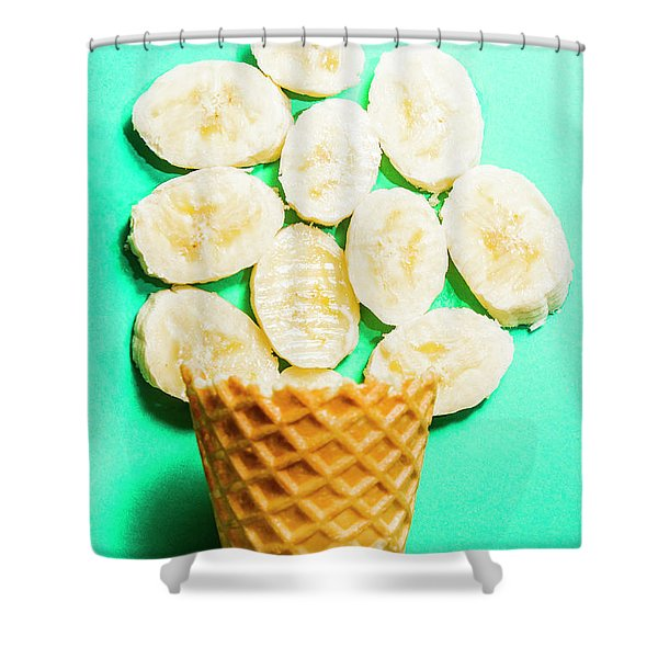 Dessert Concept Of Ice-cream Cone And Banana Slices Shower Curtain