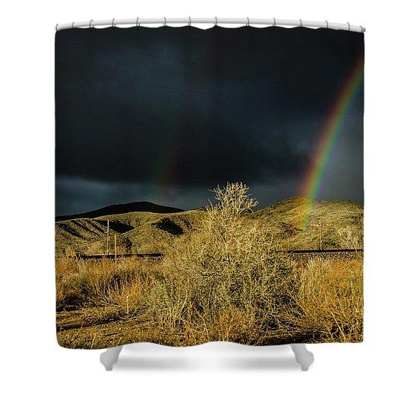 Desert Double Rainbow Shower Curtain