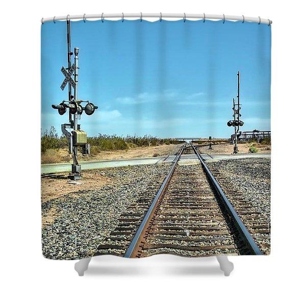 Desert Railway Crossing Shower Curtain