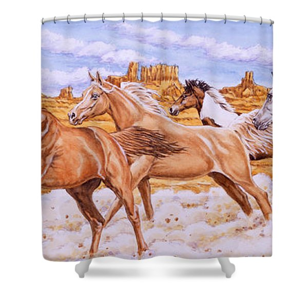 Desert Run Shower Curtain by Richard De Wolfe