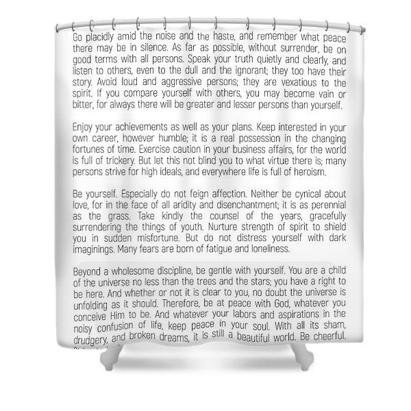 Desiderata #minimalism Shower Curtain