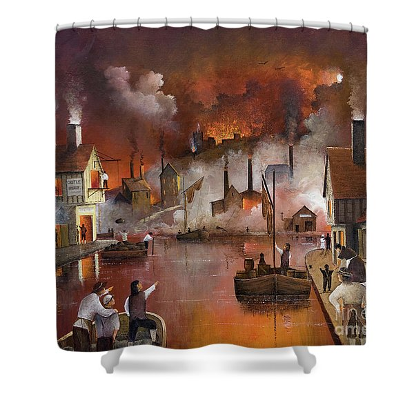 Shower Curtain featuring the painting Destruction Of Dudley Castle by Ken Wood