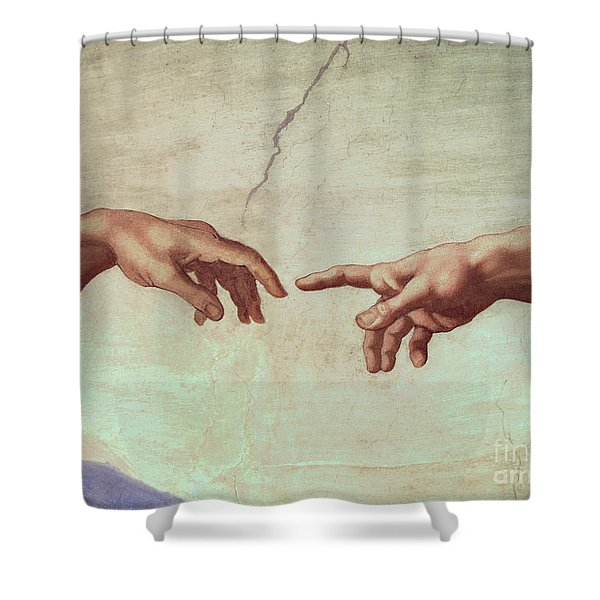Detail From The Creation Of Adam Shower Curtain
